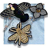 Брошь (набор из 3 шт.) Пчела-цветок-птица