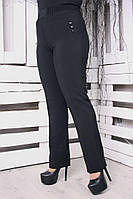 Брюки женские большого размера Л1 на поясе, черные брюки большого размера, фото 1