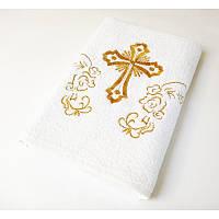 Крыжма Lotus вышивка - Белое с золотом 70*140 (16/1) 400гр
