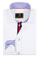 Рубашка Michael Schaft Белая с контрастными вставками Slim Fit