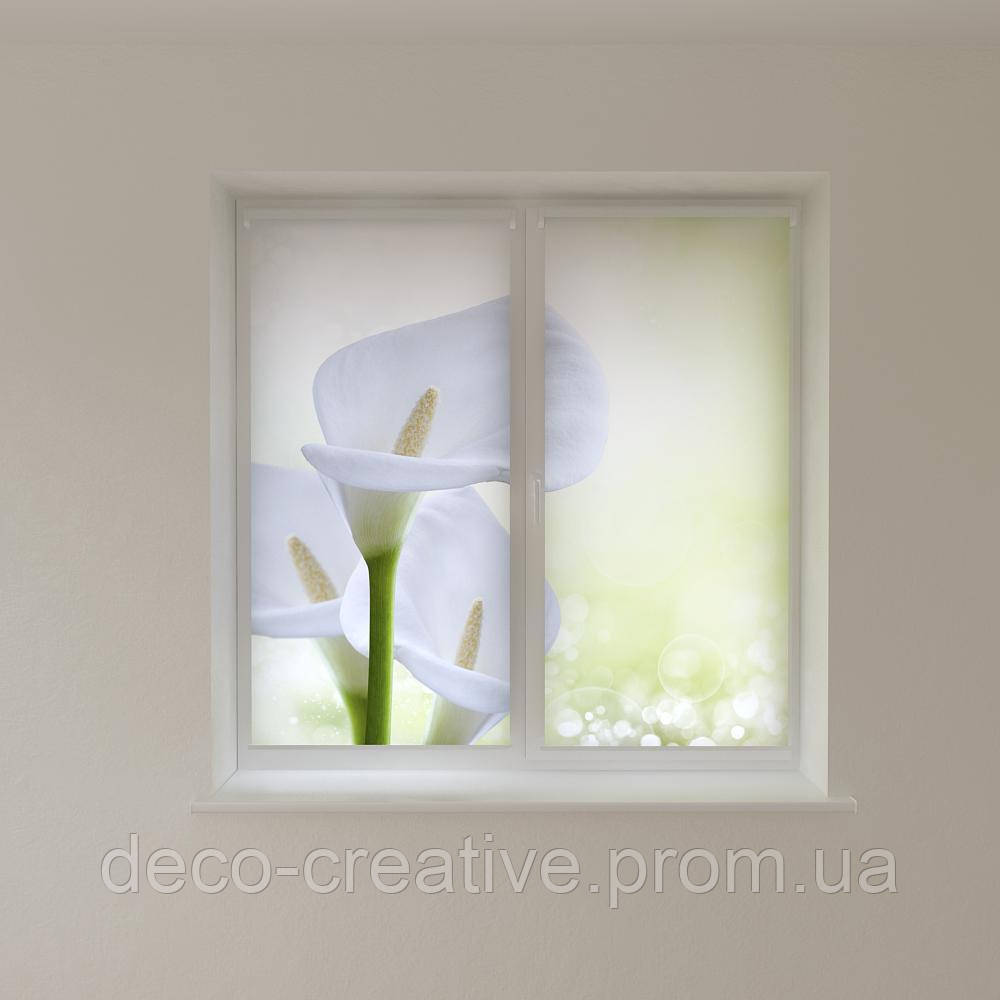 Рулонные шторы белые лилии