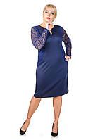 Нарядное платье с гипюром Афродита темно-синий (52-62)