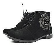 Стильные черные женские осенние замшевые ботинки Anna Lucci для повседневной носки