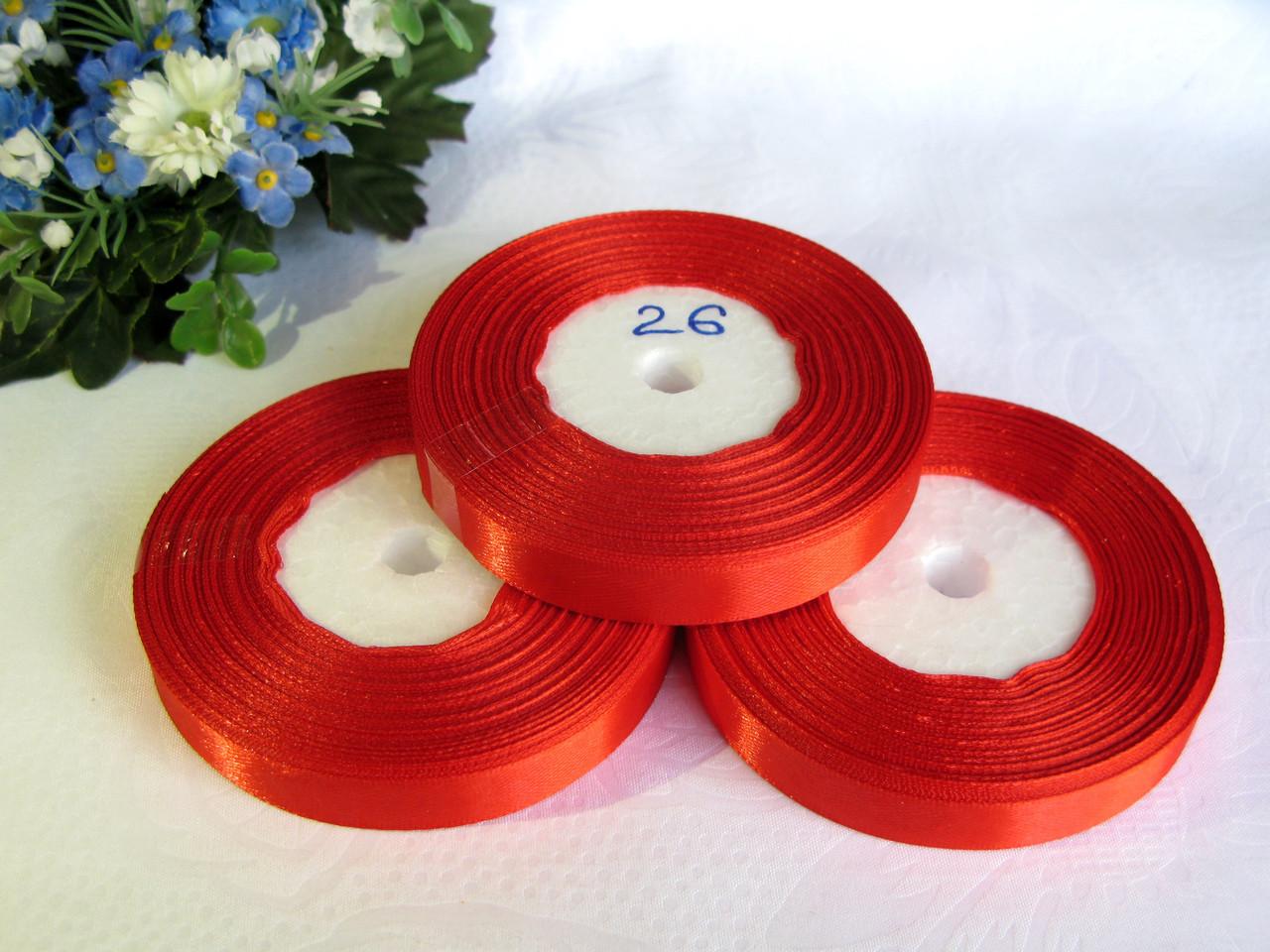 Атласная лента 1.2 см цвет - красный (26)  бобина 23 м