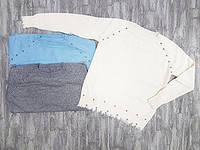 Джемпер женский оптом украшен бижутерией нестандартной резинкой рукавов и пояса 6083