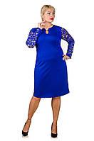 Нарядное платье с гипюром Афродита электрик (52)