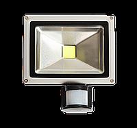 Серый светодиодный прожектор СОВ 20 ватт с датчиком движения