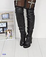 Ботфорты женские зима на устойчивом каблуке черные