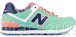 Женские кроссовки New Balance 574 Reefs Seas Mint Green (в стиле Нью Баланс 574) бирюзовые