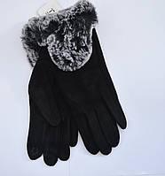 Женские перчатки эко-замш с натуральным мехом на флисовой подкладке