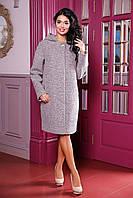 Демисезонное женское бежевое пальто В-981 W09+BND Тон 48 44-62 размер