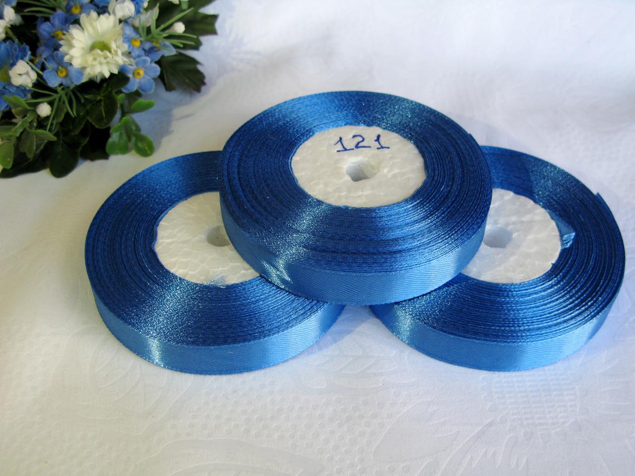 Атласная лента 1.2 см цвет - синий (121)  бобина 23 м