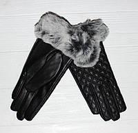 Женские перчатки эко-кожа с натуральным мехом на флисовой подкладке