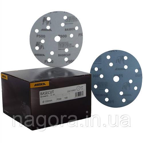 Шлифовальный диск BASECUT 150мм  15 отв (на липучке) P500 MIRKA