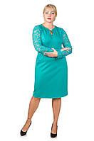 Нарядное платье с гипюром Афродита бирюза (52-62)