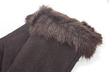 Перчатки трикотажные женские Темно-коричневые, фото 2