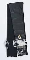 Женские длинные трикотажные перчатки 47 см,с сенсорным пальчиком и натуральным мехом