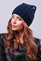 Темно-синяя шапка с косами