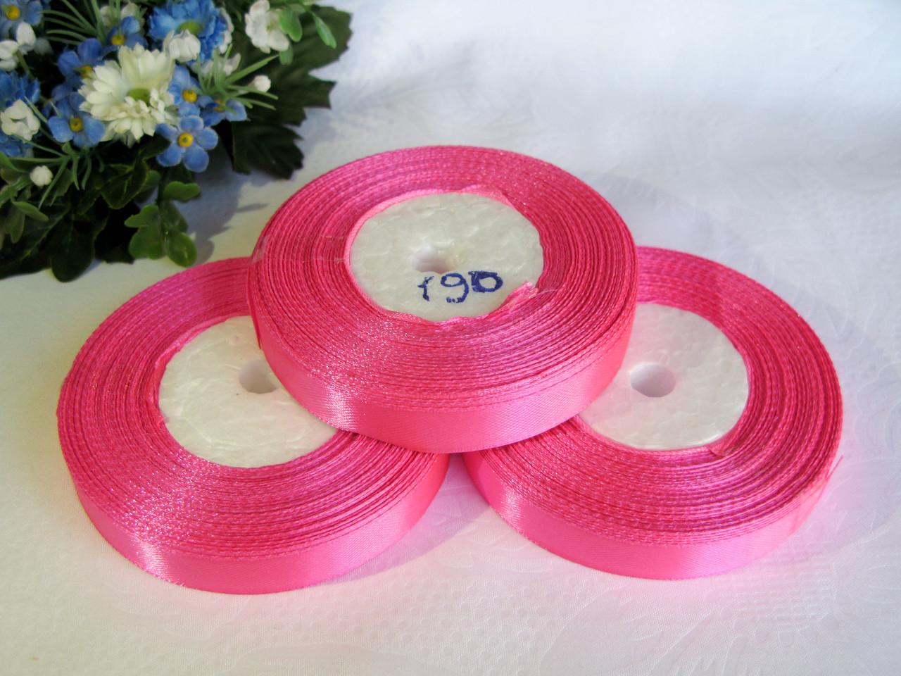 Атласная лента 1.2 см цвет - розовый яркий (190)  бобина 23 м