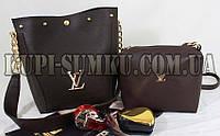 Брендовый комплект сумка и клатч (цвет шоколад)