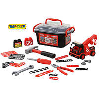 Набор инструментов в чемоданчике 36 эл. + машинка эвакуатор  Wader 57136