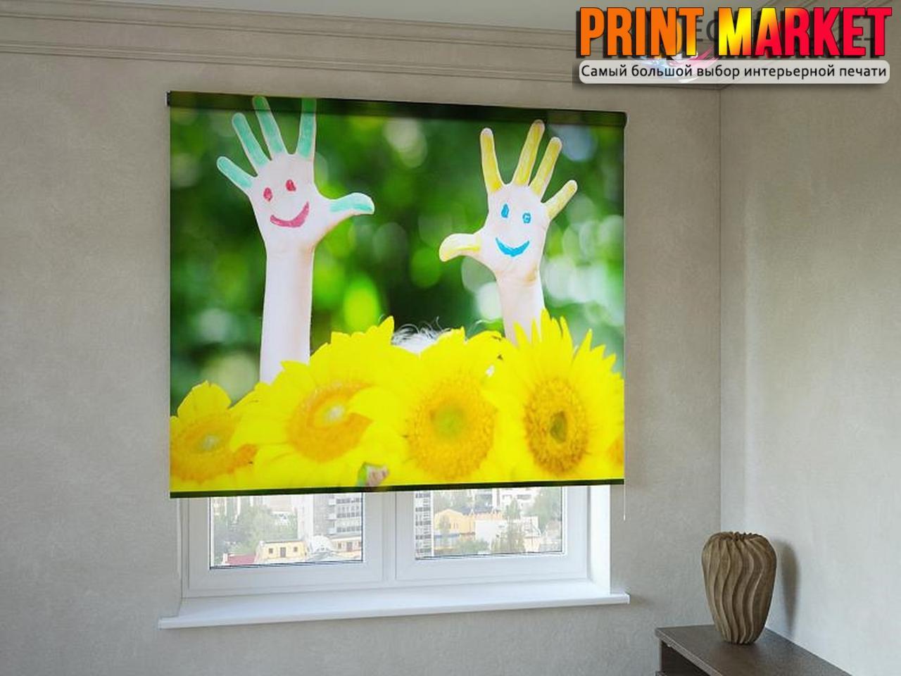 Рулонные шторы с фотопечатью руки и цветы 3д