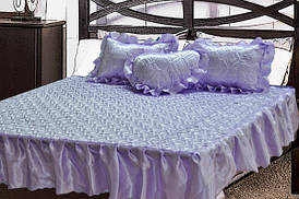 Комплект атласный 208 (покрывало с рюшами + подушки)