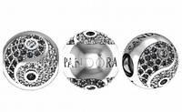 Шарм Бусина серебряная Pandora Инь Янь с камнями