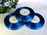 Атласная лента 1.2 см цвет - синий бобина 23 м