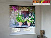 Рулонные шторы с фотопечатью цветы и горшки