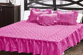 Комплект атласный 209 (покрывало с рюшами + подушки)