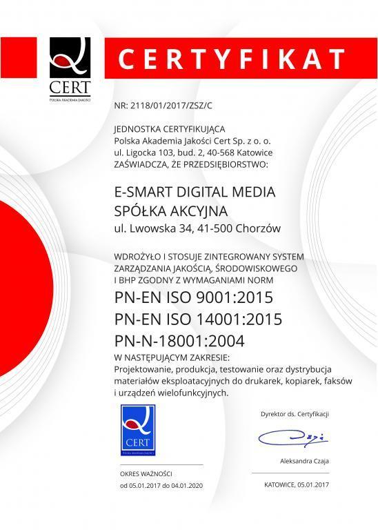 PN-EN ISO 9001:2009 / PN-EN ISO 14001:2005 / PN-N-18001:2004