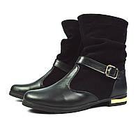 Черные женские осенние кожаные ботинки Road Style для повседневной носки