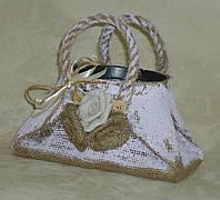 Кашпо-сумка из мешковины сиреневая, фото 1