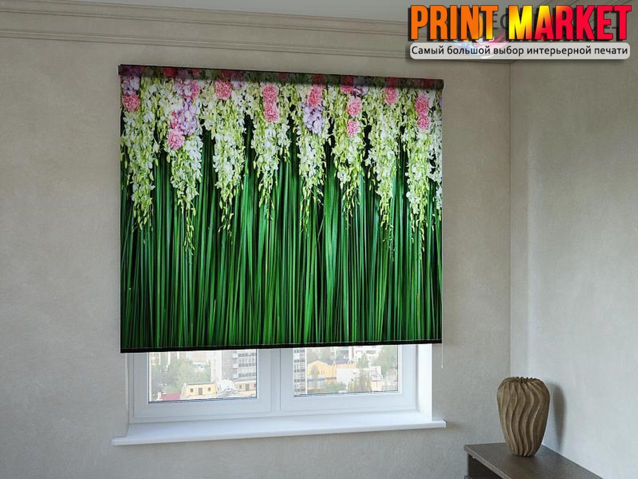 Рулонные шторы с фотопечатью бело-розовые цветы