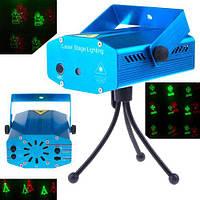 Лазерный проектор с новогодней тематикой праздничный стробоскоп цветомузыка с микрофоном и вентилятором