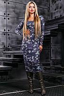 Элегантное синее платье-футляр с цветочным принтом, вязанный трикотаж,  размер 42-48