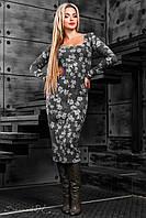 Элегантное чёрное платье-футляр с цветочным принтом, вязанный трикотаж,  размер 42-48