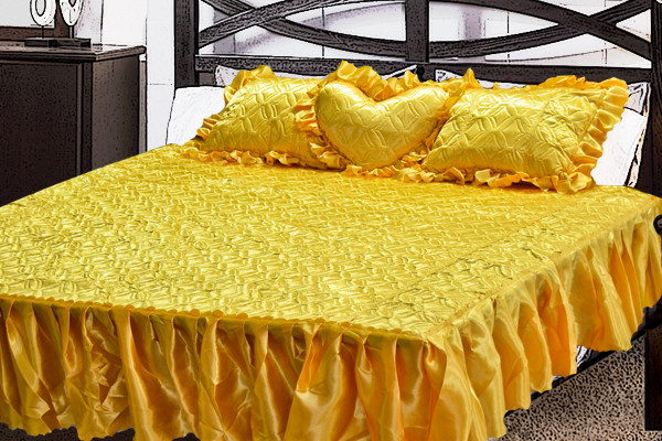 Комплект атласный 219 (покрывало с рюшами + подушки)