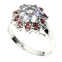 Кольцо танзанит рубин натуральные серебро 925