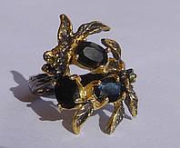 Дизайнерское кольцо с натуральным сапфиром и перидотом Размер 18