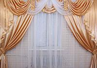 Ламбрекен и шторы из атласа 3 метра №19. Цвет золотистый