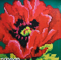 Набор алмазная вышивка Бриллиантовые ручки (на подрамнике) Червоний мак (на подрамнике) (GU_198754) 20 х 20 см