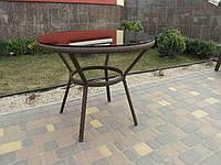 Стол круглый из искусственного ротанга со стеклом  №4