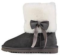 Женские короткие угги UGG Classic Short Fur Bow Grey (Угги УГГ Австралия) серые с овчиной и бантом