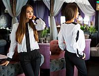 Стильный женский классический брючный костюм брюки и блузка