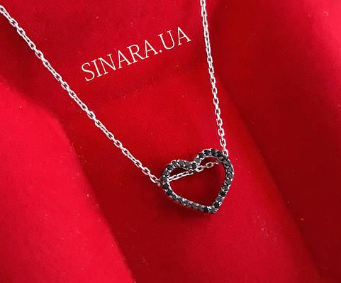 Серебряная цепочка с кулоном Сердце Серебряное колье