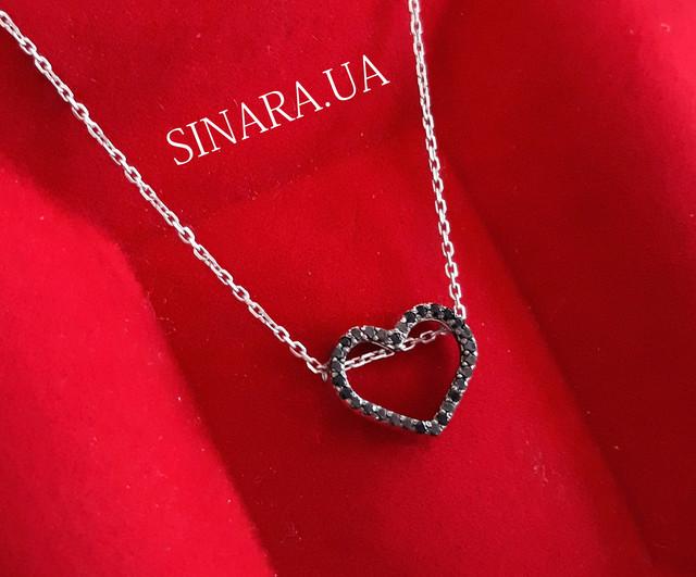 Серебряная цепочка с кулоном Сердце Серебряное колье картинка