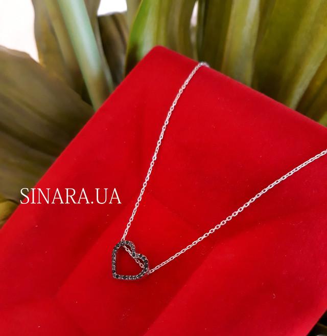 Серебряная цепочка с кулоном Сердце Серебряное колье картинка 1