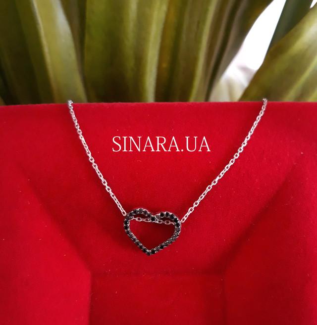 Серебряная цепочка с кулоном Сердце Серебряное колье картинка 2